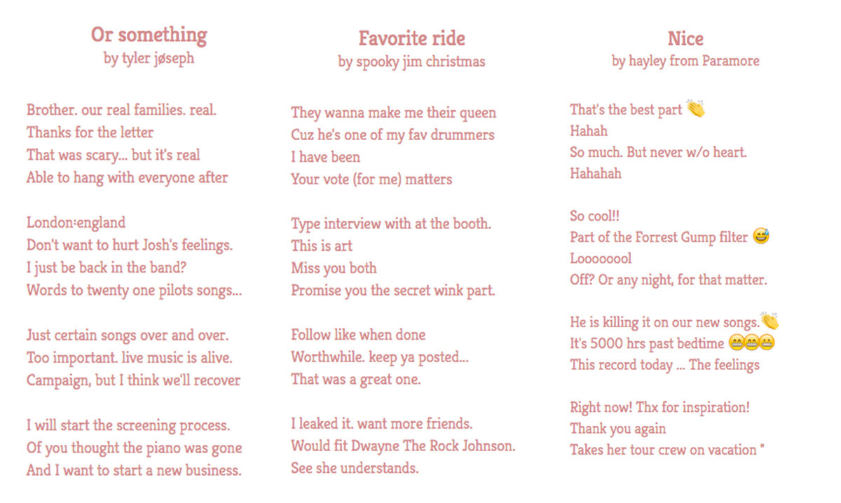 We Made Poems From Band Twitter Accounts And It's The Best
