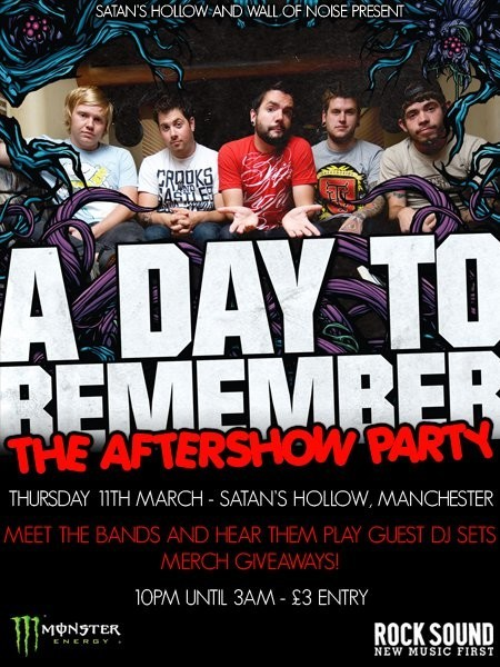 A day to remember aftershow announced news rock sound magazine details are on the flyer below members of a day to remember architects and your demise will be down to play some records and party alongside the club m4hsunfo